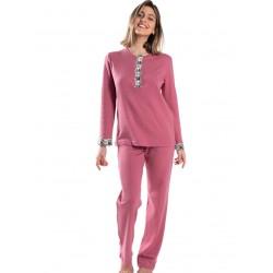 γυναικεία πυτζάμα giota 3034 pink μπροστά