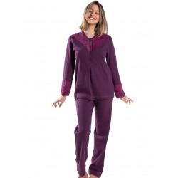 γυναικεία πυτζάμα giota 3046 purple μπροστά