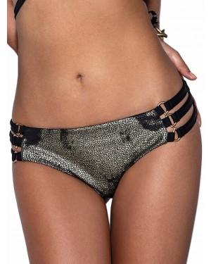 Μαγιό Bluepoint Hot Brazilian Bikini Black & Gold - Λωρίδες & Leather Look