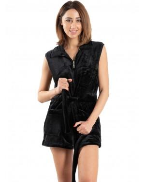 ρόμπα γυναικεία fleece bonne nuit 9515 black μπροστά