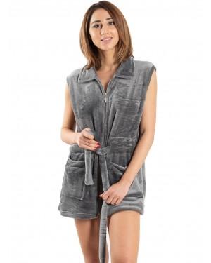 γυναικεία ρόμπα fleece bonne nuit 9515 grey μπροστά