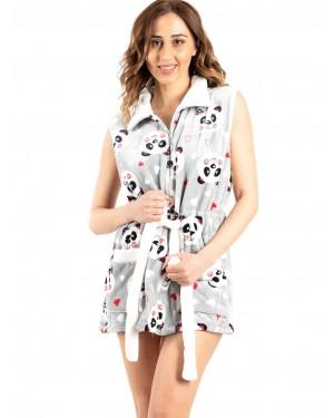 γυναικεία ρόμπα bonne nuit 9515 grey panda μπροστά