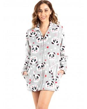γυναικεία ρόμπα bonne nuit 9516 grey panda μπροστά