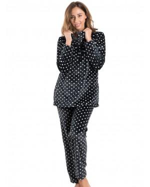 BONNE NUIT Πυτζάμα Πολυτελείας - Ζεστό Fleece - Dots Πουά Σχέδιο - 9517