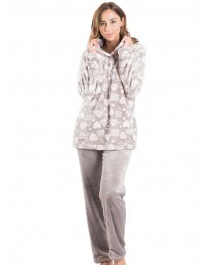 BONNE NUIT Πυτζάμα Πολυτελείας - Ζεστό & Απαλό Fleece - All Over Σχέδιο - 9519