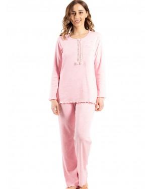 γυναικεία πυτζάμα bonne nuit 9734 pink μπροστά