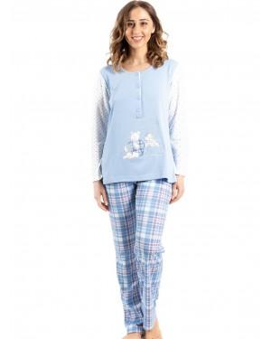 γυναικεία πυτζάμα bonne nuit 9719 blue μπροστά