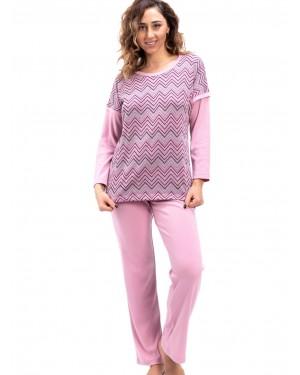 γυναικεία πυτζάμα bonne nuit 9729 pink μπροστά