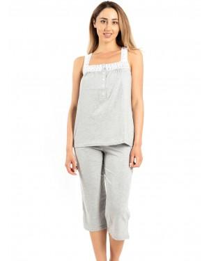 γυναικεία πυτζάμα harmony 100906 grey μπροστά
