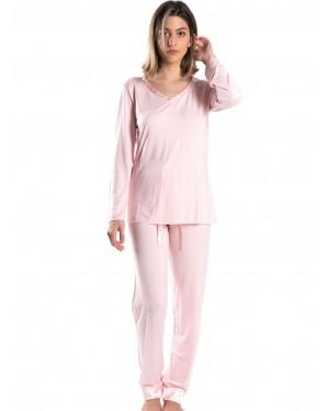 γυναικεία πυτζάμα harmony 29932 pink μπροστά