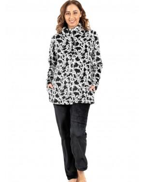 γυναικεία πυτζάμα koyote 5059 black-white μπροστά