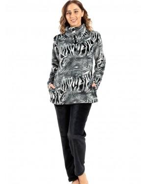 γυναικεία πυτζάμα koyote 5059 grey animal μπροστά
