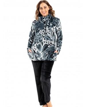 γυναικεία πυτζάμα koyote 5059 grey print μπροστά