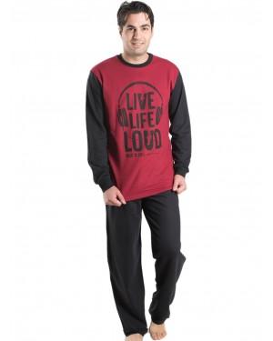 Ανδρική Πυτζάμα Homewear MEI Μπορντώ - 100% Βαμβακερή - 901910