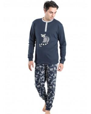 Ανδρική Πυτζάμα Homewear MEI Μπλε - 100% Βαμβακερή - All Over Σχέδιο - 901970