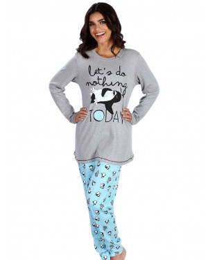 Πυτζάμα Γυναικεία Minerva Penguin - 100% Βαμβάκι Interlock - All Over Σχέδιο - Χειμώνας 19