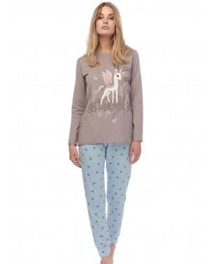 Πυτζάμα Γυναικεία MINERVA Dream Deer - 100% Βαμβάκι Interlock - All Over Σχέδιο - Stay Home 2020