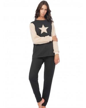 Πυτζάμα Γυναικεία Φούτερ MINERVA Star - Γούνινο Σχέδιο - 51581-293