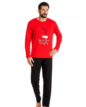 Ανδρική Πυτζάμα MINERVA Christmas Σκούφος Red - 100% Βαμβάκι Interlock - Hot Pick 19/20