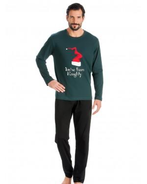 MINERVA Ανδρική Πυτζάμα Christmas Σκούφος - 100% Βαμβάκι Interlock - Hot Pick 19/20