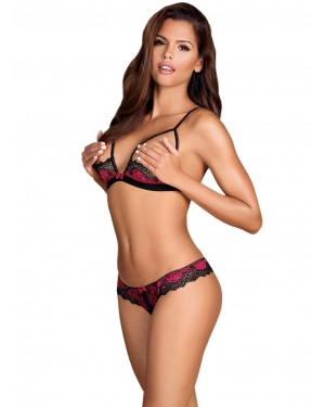 OBSESSIVE Tulia Set Push Up Half Bra & Crotchless Thong - Floral Δαντέλα - Χειμώνας 2019/20