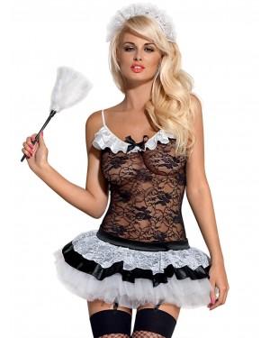 Obsessive French Housemaid - Sexy Υπηρέτρια 5τεμ - Body Corset με Ζαρτιέρες - Φούστα - String - Κάλτσες & Αξεσουάρ για τα Μαλλιά