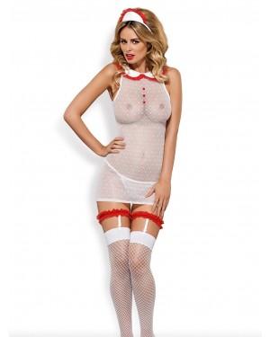 Obsessive Set Νοσοκόμα 5τεμ - Φόρεμα - String - Κάλτσες - Ζαρτιέρες - Αξεσουάρ για τα Μαλλιά