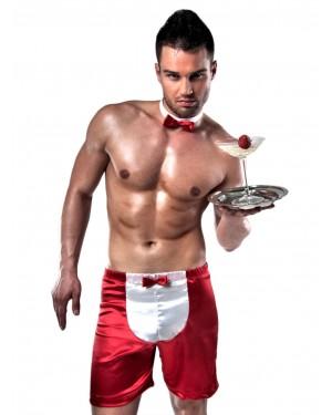 Sexy Σερβιτόρος Passion - Σατέν Γυαλιστερό Boxer & Παπιγιόν