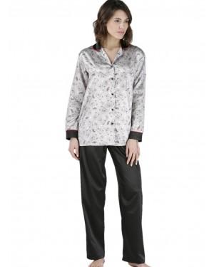 γυναικεία πυτζάμα σατέν rachel 12236 grey
