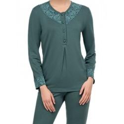 Πυτζάμα ΓΙΩΤΑ Homewear - Γεμάτο Βαμβάκι - Δαντέλα & Κουμπιά -Χειμώνας 2020/21