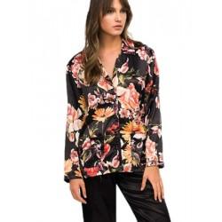 Πυτζάμα ΓΙΩΤΑ Homewear - Απαλό Σατέν - Κουμπιά & Floral Σχέδιο - Χειμώνας 2020/21