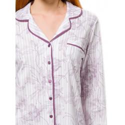 Πυτζάμα Γυναικεία HARMONY - 100% Βαμβακερή - Floral Σχέδιο & Κουμπιά - Χειμώνας 2021/22