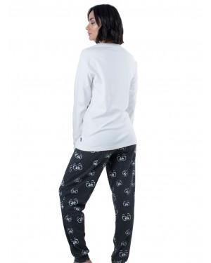 Γυναικεία Πυτζάμα Apple - Σχέδιο Κέντημα - 100% Βαμβακερή - Χειμώνας 19