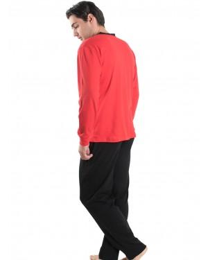 Ανδρική Πυτζάμα Κόκκινη - Φόρμα APPLE - 100% Βαμβακερή - 510170