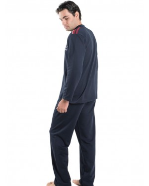 BONNE NUIT Ανδρική Πυτζάμα Μπλε - Γεμάτο Βαμβάκι - Fleece Επένδυση - 9403