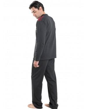 Ανδρική Πυτζάμα BONNE NUIT Ανθρακί - Γεμάτο Βαμβάκι - Fleece Επένδυση - 9403