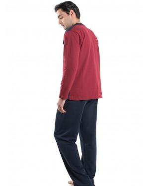 Ανδρική Πυτζάμα BONNE NUIT Μπορντώ - Γεμάτο Βαμβάκι - Επένδυση Fleece - 9405
