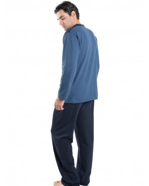 BONNE NUIT Ανδρική Πυτζάμα Μπλε - Γεμάτο Βαμβάκι - Fleece Επένδυση - 9405