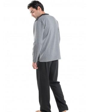 Ανδρική Πυτζάμα BONNE NUIT Γκρι - Γεμάτο Βαμβάκι - Fleece Επένδυση - 9405