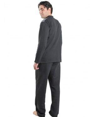 BONNE NUIT Ανδρική Πυτζάμα Γκρι - Γεμάτο Βαμβάκι - Fleece Επένδυση - 9406