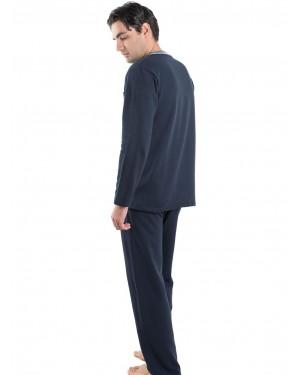Ανδρική Πυτζάμα BONNE NUIT Μπλε - Γεμάτο Βαμβάκι - Fleece Επένδυση - 9410