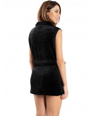 ρόμπα γυναικεία fleece bonne nuit 9515 black πίσω