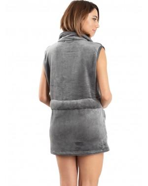 γυναικεία ρόμπα fleece bonne nuit 9515 grey πίσω