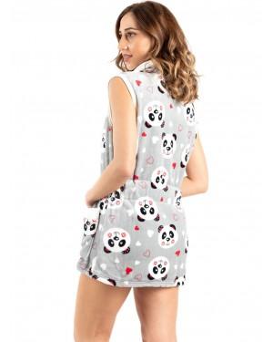 γυναικεία ρόμπα bonne nuit 9515 grey panda πίσω
