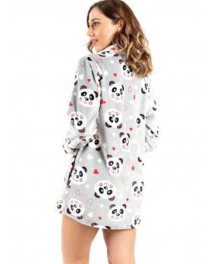 γυναικεία ρόμπα bonne nuit 9516 grey panda πίσω