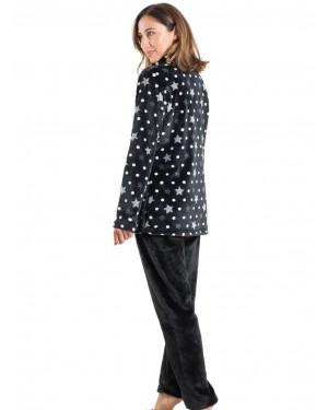 BONNE NUIT Πυτζάμα Πολυτελείας Μαύρα Αστέρια - Ζεστό Fleece - All Over Σχέδιο - 9517