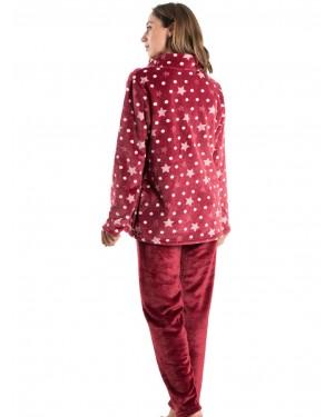Πυτζάμα Πολυτελείας BONNE NUIT Μπορντώ - Ζεστό Fleece - All Over Σχέδιο - 9517