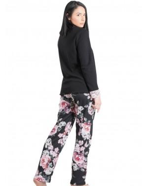 Πυτζάμα ΓΙΩΤΑ Homewear - Γεμάτο Βαμβάκι - Κουμπιά & Floral Σχέδιο - 1458