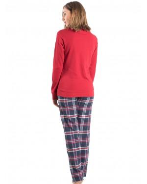 Γυναικεία Πυτζάμα MEI - 100% Βαμβακερή - Καρό Παντελόνι - 801930