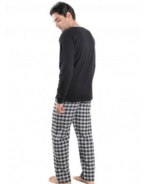 Ανδρική Πυτζάμα Homewear MEI - 100% Βαμβακερή - Καρό Παντελόνι - 901965